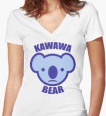 kawawa bear Women's Fitted V-Neck T-Shirt
