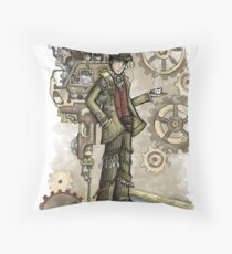 Steampunk Mad Hatter Throw Pillow