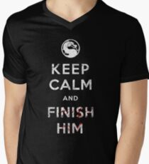 Keep Calm and Finish Him Men's V-Neck T-Shirt