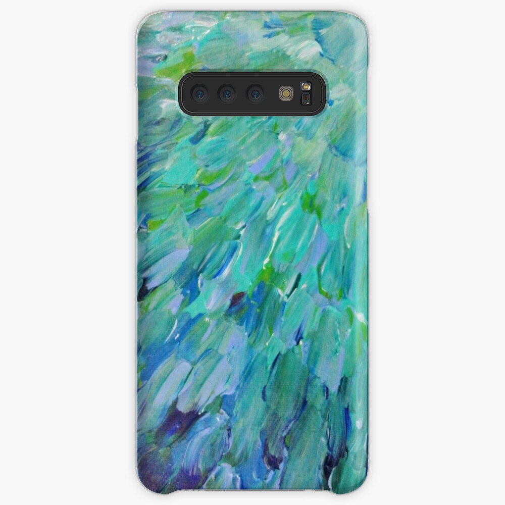 ESCALAS DE MAR - Hermoso BC Ocean Theme Plumas de pavo real Mermaid Fins Waves Blue Teal Abstract Fundas y vinilos para Samsung Galaxy