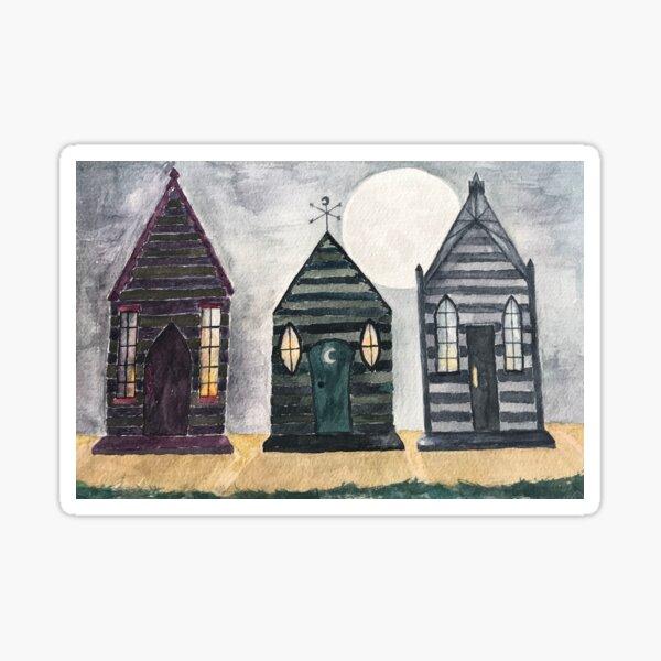 Gothic Beach Huts Sticker