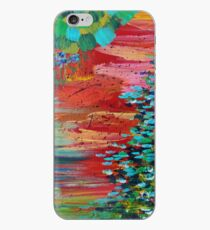 Vinilo o funda para iPhone REVISIONED RETRO - Bright Bold Red Abstract Acrylic Colorful Pintura 70s Twist Vintage Style Hip