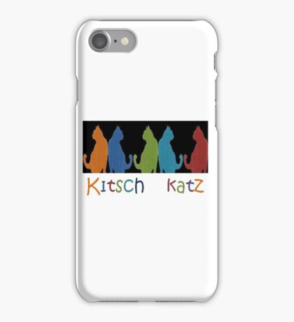 Kitsch Cats Silhouette Cat Collage Pattern on Black iPhone Case/Skin