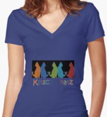 Kitsch Cats Silhouette Cat Collage Pattern on Black Women's Fitted V-Neck T-Shirt