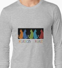 Kitsch Cats Silhouette Cat Collage Pattern on Black Long Sleeve T-Shirt