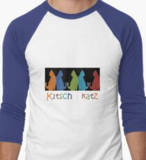 Kitsch Cats Silhouette Cat Collage Pattern on Black Men's Baseball ¾ T-Shirt