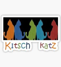 Kitsch Cats Silhouette Cat Collage Pattern on Black Sticker
