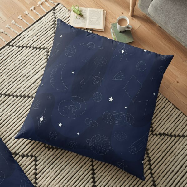 Hand Drawn Space Floor Pillow