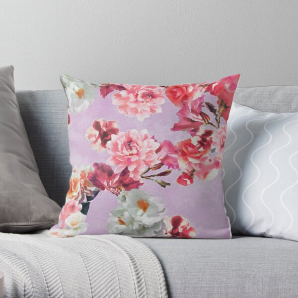 Sunny Floral Lavender Pink Throw Pillow