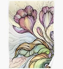 Crocus.Hand drawn watercolor and ink drawing Poster