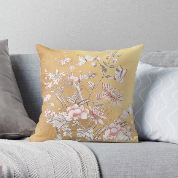 Chinoiserie Gold Floral Butterflies Throw Pillow