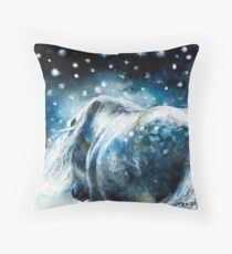 Highland Pony in Snow Throw Pillow