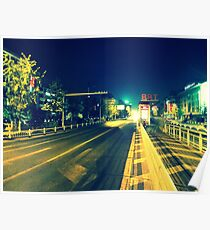 Changzhou road at night, China Poster