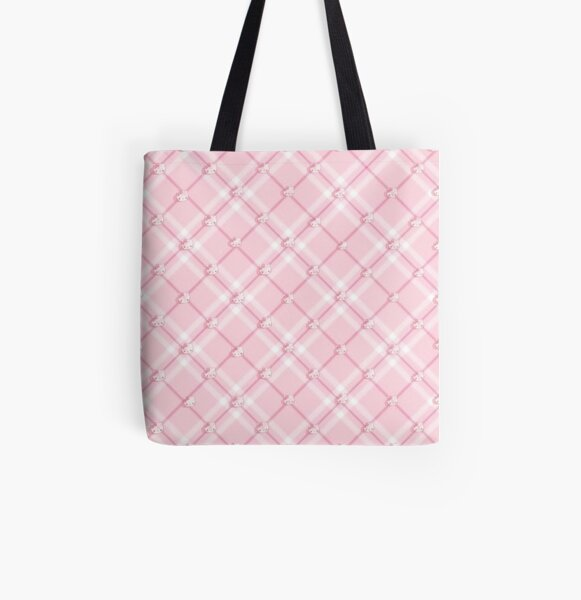 pink plaid + hello kitty pattern All Over Print Tote Bag
