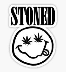 Stoned - black on white Sticker