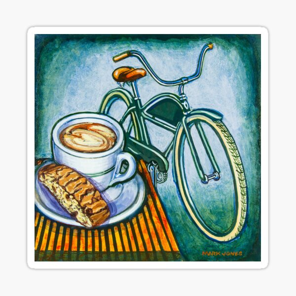 Green Electra Delivery Bicycle Coffee and biscotti Sticker