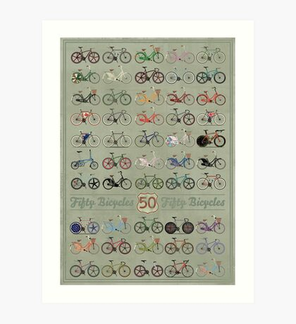 Fifty Bicycles Art Print