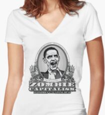 Zombie Economics Obama Edition Women's Fitted V-Neck T-Shirt