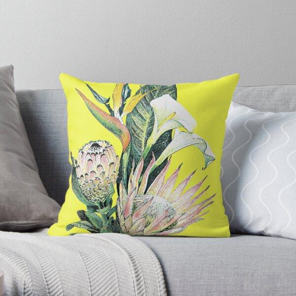 South African flowers, Proteas, Zantedeschia and Strelitzia Throw Pillow