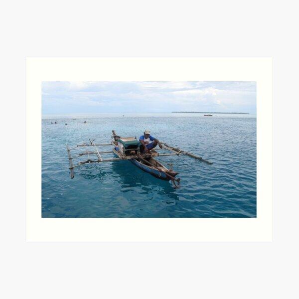 Fisherman at Ayu Atoll Art Print