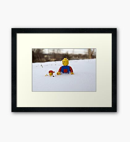 Father/Son Snowy Hike Framed Print