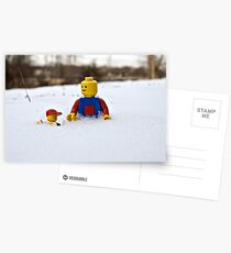 Father/Son Snowy Hike Postcards