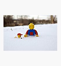 Father/Son Snowy Hike Photographic Print