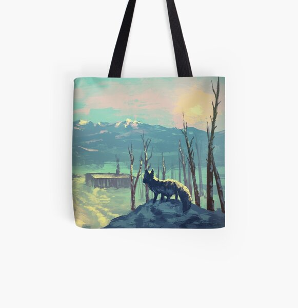 Arctic Fox - Icy Winter Sunset All Over Print Tote Bag