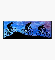 Three Mountain Bikers at Dusk Photographic Print