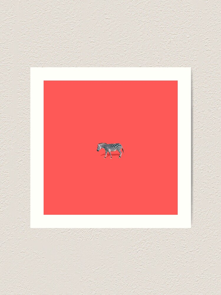 Alternate view of Zebra on red Art Print