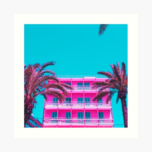 pink hotel and palm trees. Art Print