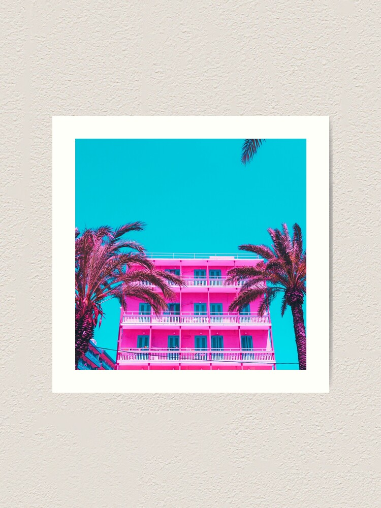 Alternate view of pink hotel and palm trees. Art Print