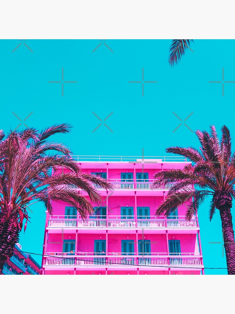 pink hotel and palm trees. by KatyaHavok