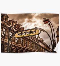 Metro of Paris near The Louvre Poster