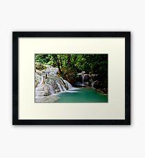 Calming flowing waterfall and pool, Vanuatu, South Pacific Ocean Framed Print