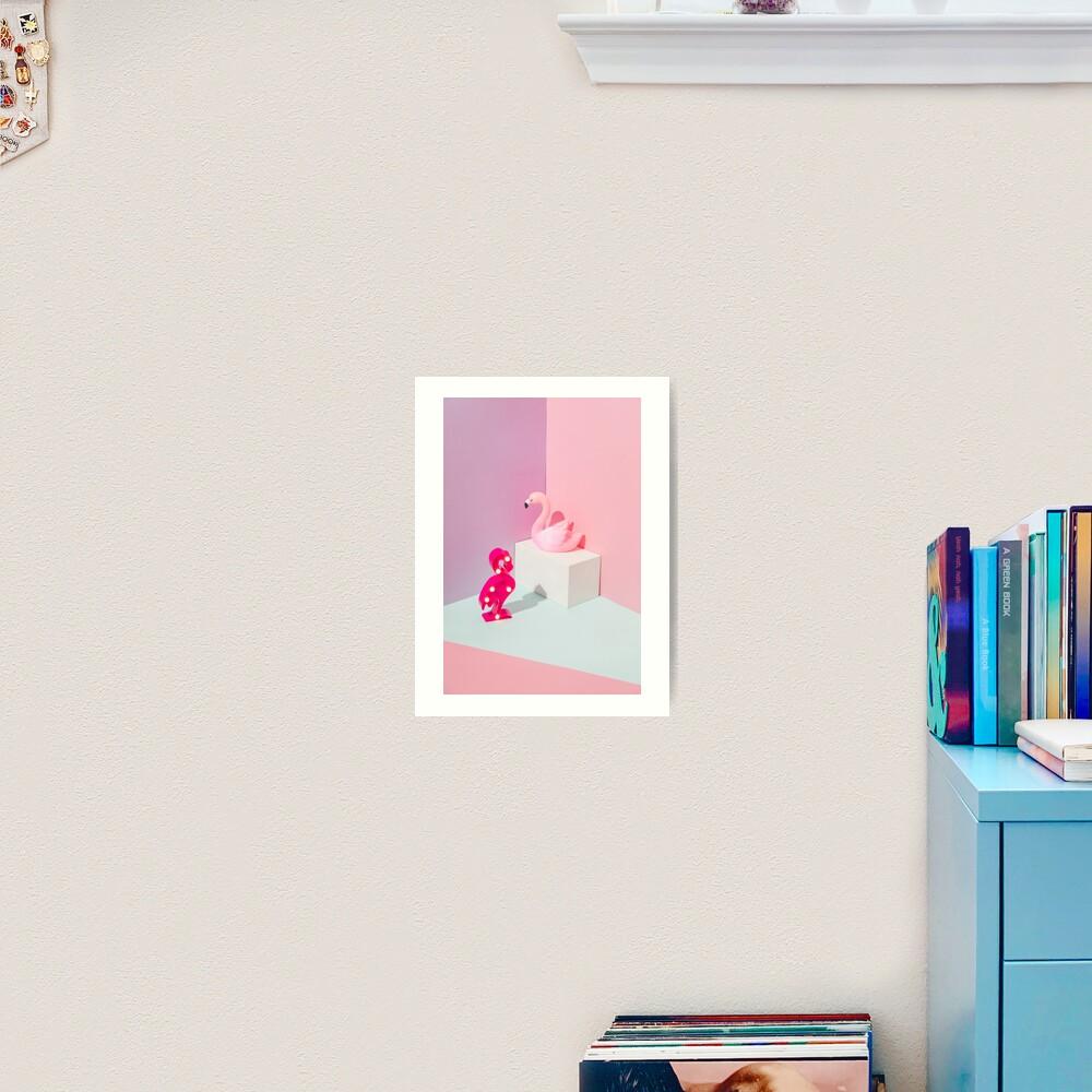 Plastic Flamingos Art Print