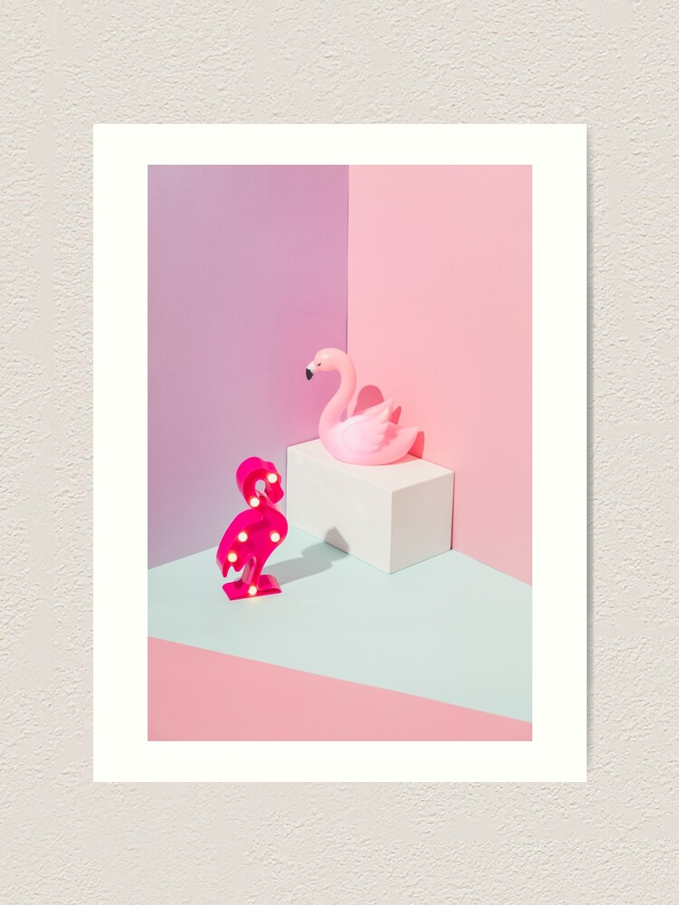 Alternate view of Plastic Flamingos Art Print