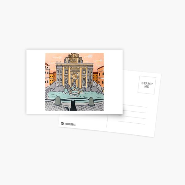 Journal of a Cat in Rome - Trevi Fountain Postcard