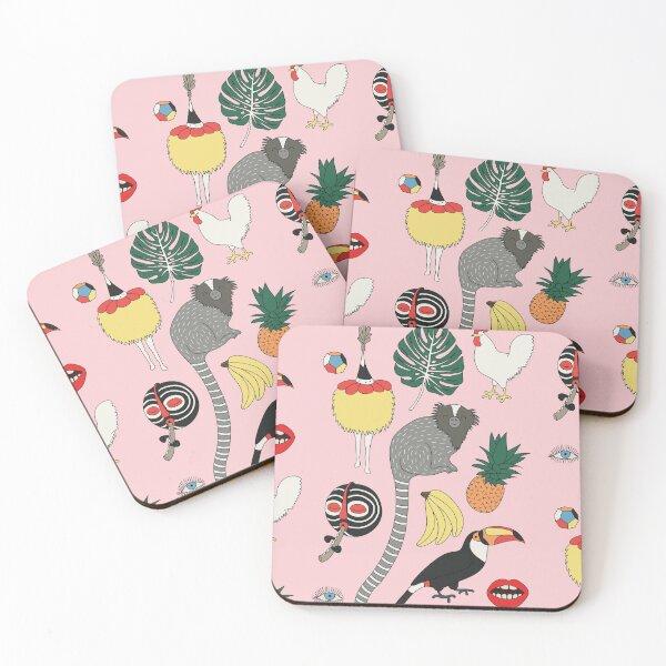 Pink jungle by Elebea Coasters (Set of 4)