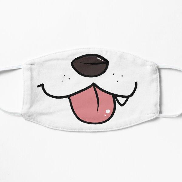 Dog Mouth cloth mask on white Flat Mask