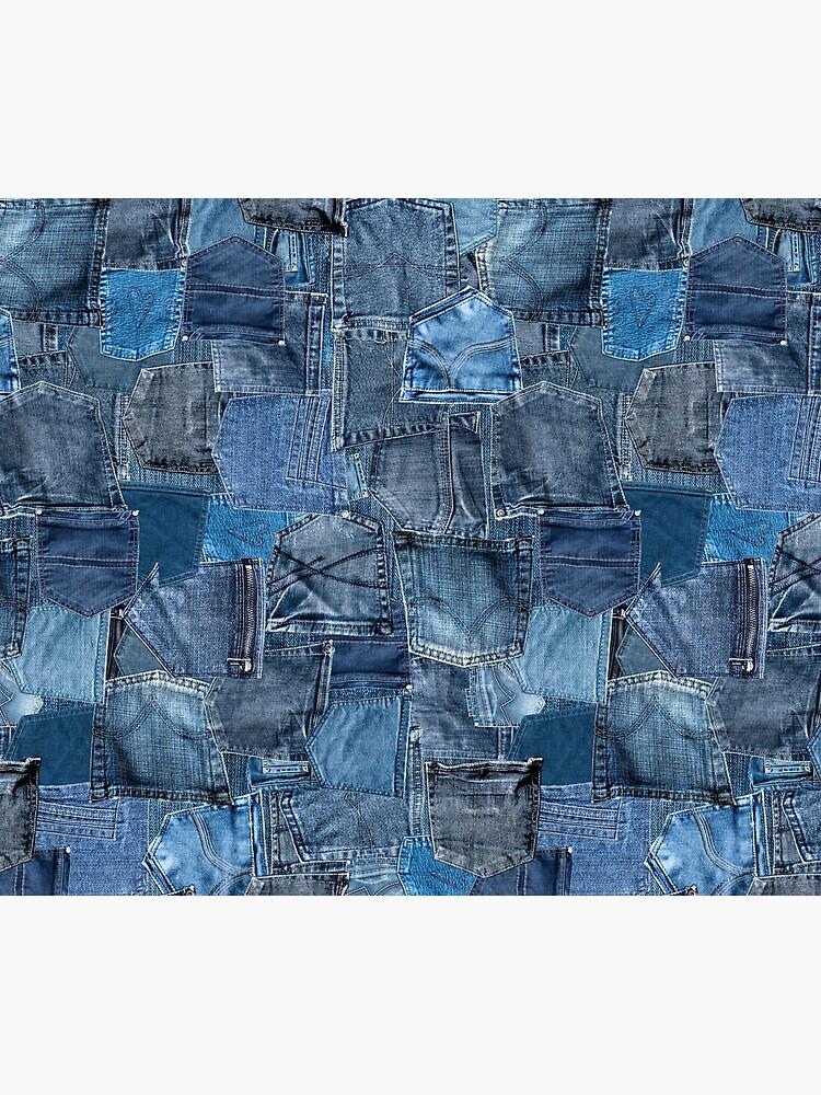 Blue Denim Jeans Pocket Patchwork by sosweet