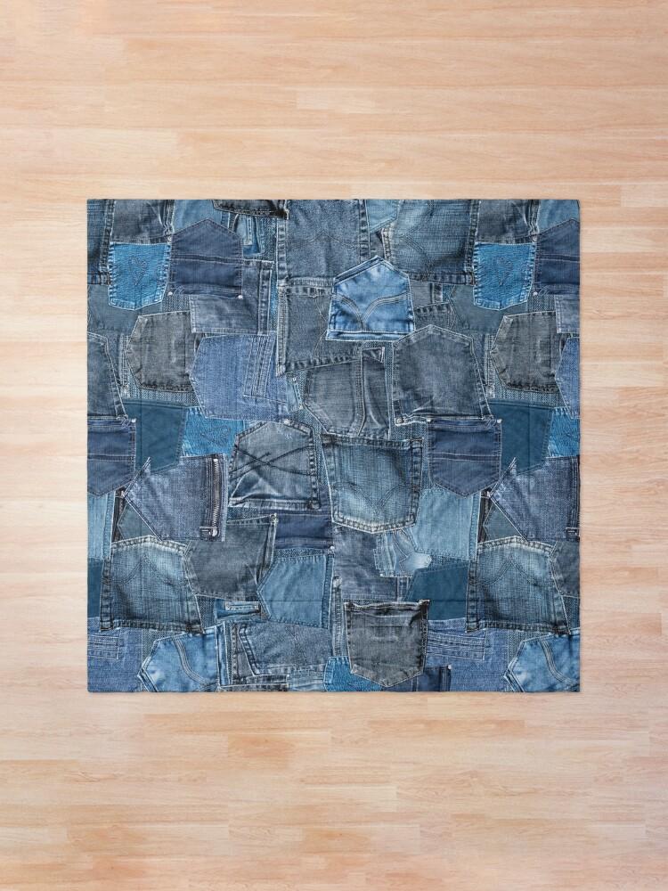Alternate view of Blue Denim Jeans Pocket Patchwork Comforter