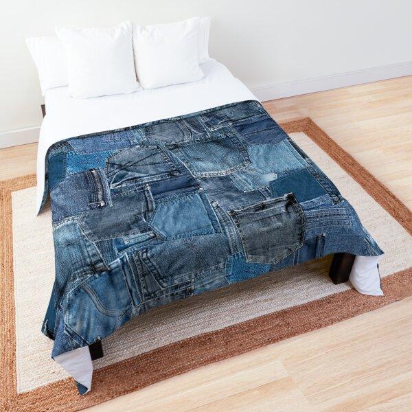 Blue Denim Jeans Pocket Patchwork Comforter