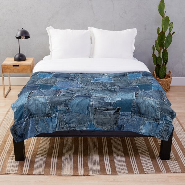 Blue Denim Jeans Pocket Patchwork Throw Blanket
