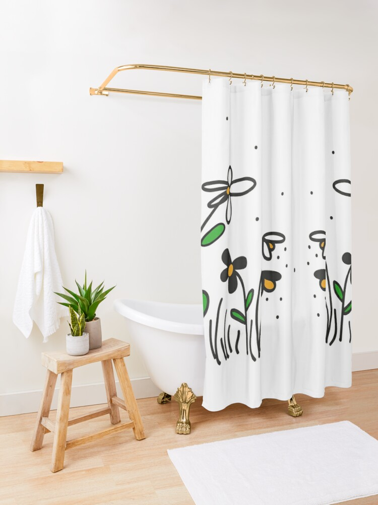Alternate view of Daisy Doodles Shower Curtain