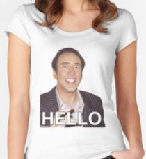Nicolas Cage - HELLO Sticker Women's Fitted Scoop T-Shirt