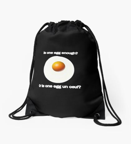 The egg question Drawstring Bag