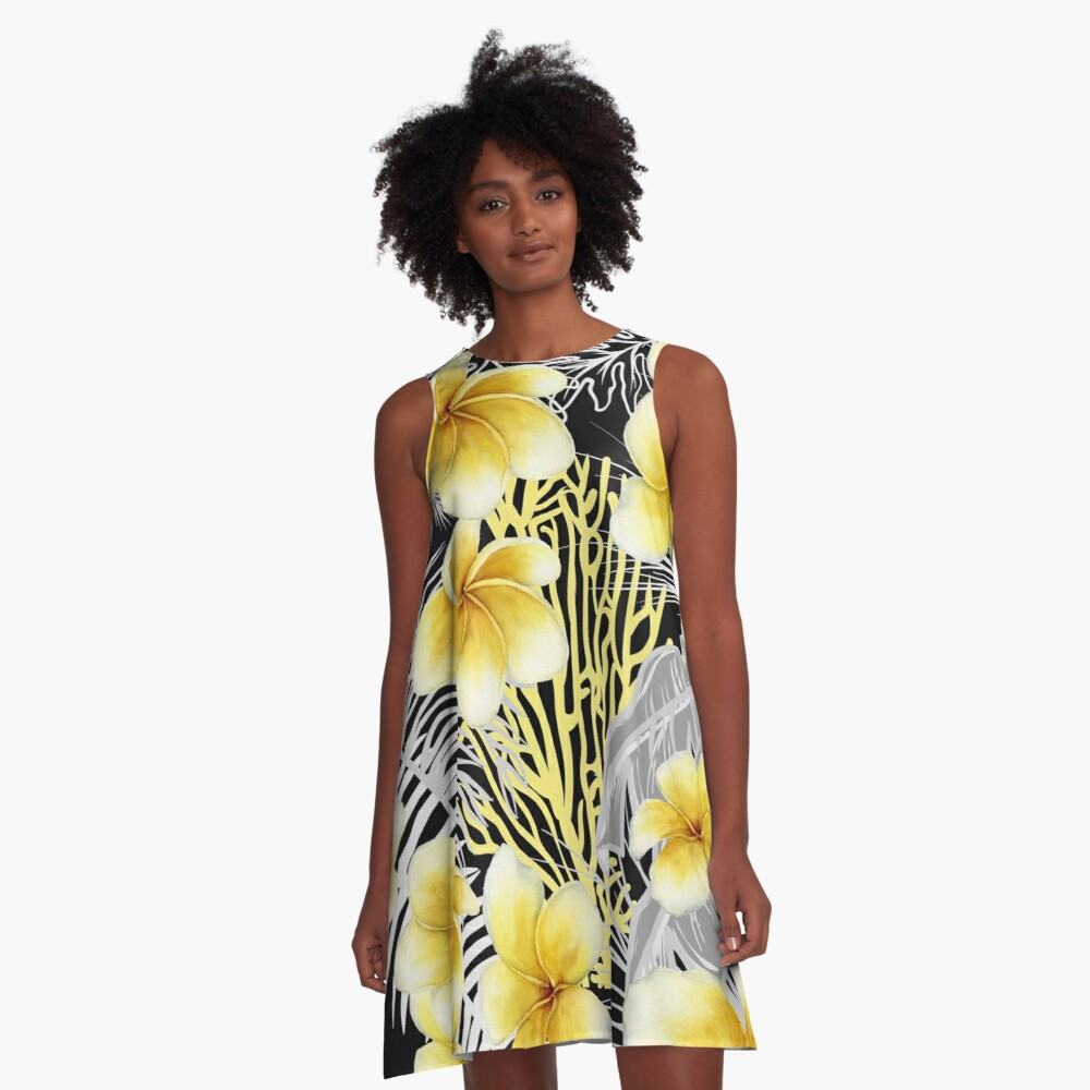 Hawaiian Frangipani a delightful watercolor design for those summer parties. Hope you can have fun with this. A-Line Dress