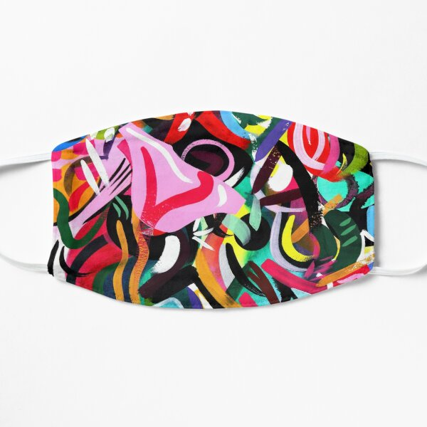 Psychedelic Abstract Pink and Green Art Print Mask