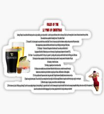 twelve rules to the twelve pubs/bars of christmas Sticker